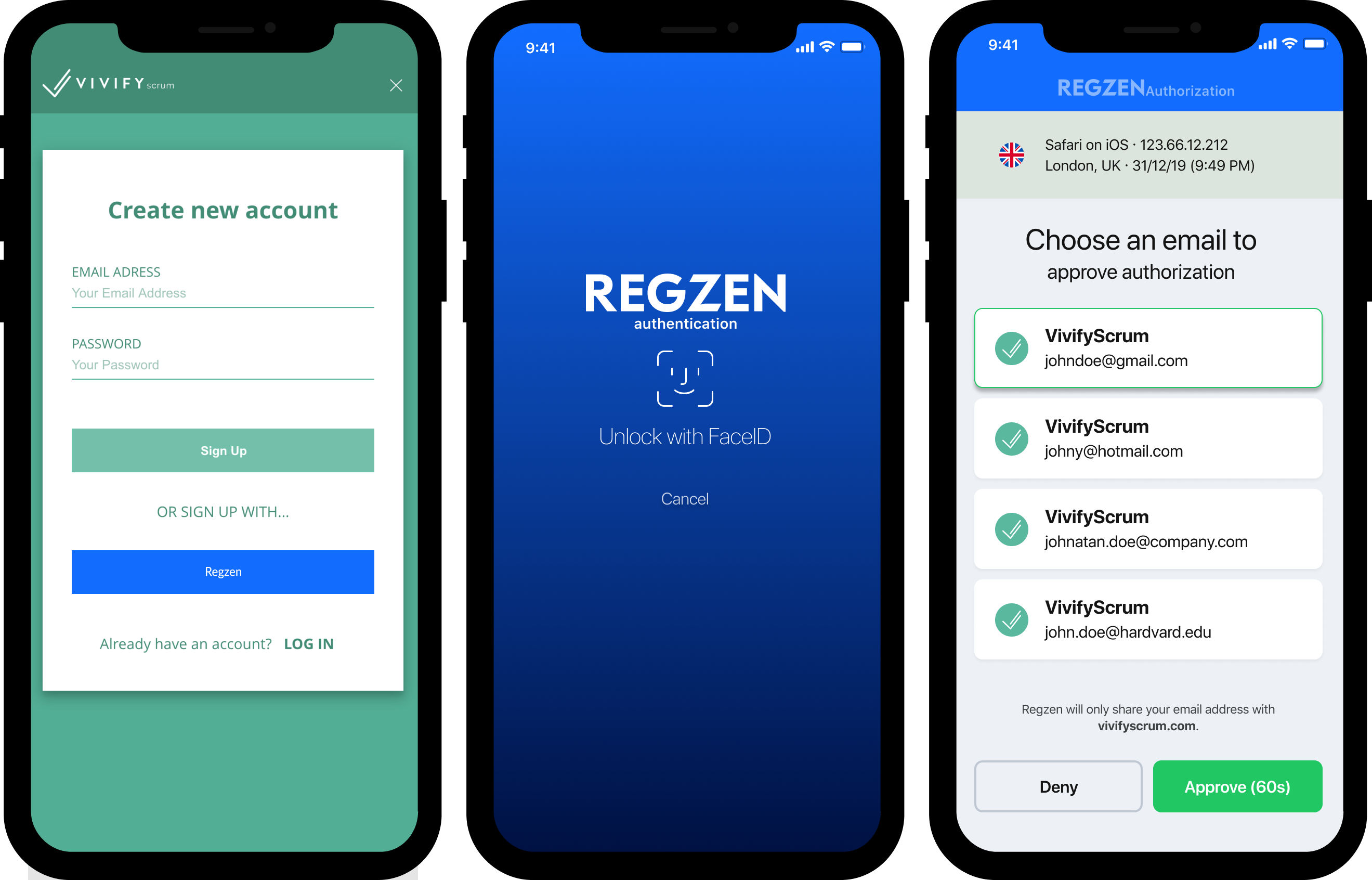 Regzen Mobile Sign-in Flow